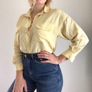 Tops - Vintage Silk Butter-Yellow Button down Blouse Sz M